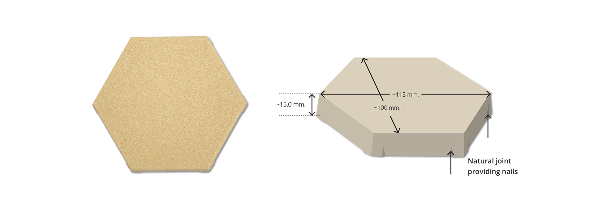 Cream Yellow Mix Hexagonal Anti Acid Tile CREAMY-10011515