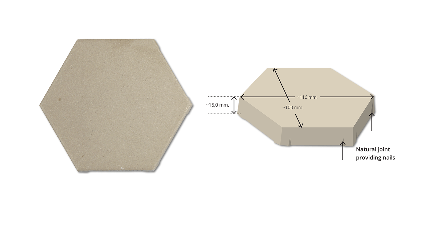 FAVO W6 Beige Hexagonal Anti Acid Tile FVW6BK-10011615